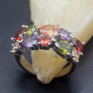 Jewelry - Pretty multiple Gemstone Silver Ring size 8 NWT